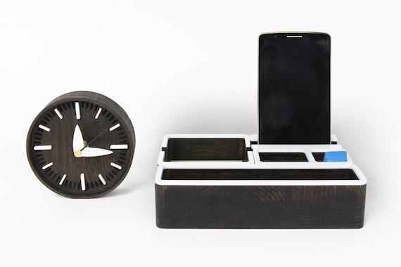 Organisateur de bureau bois serti de bureau horloge bureau en etsy
