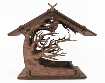 Wooden birdhouse Garden bird feeder Wooden bird house Garden gifts