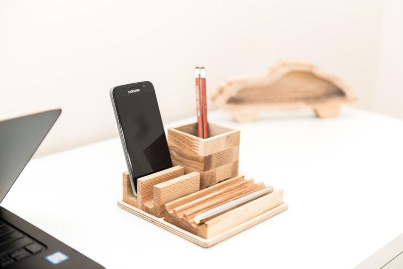 Wood desk organizer Pencil holder Phone holder Pen holder Desk image 0