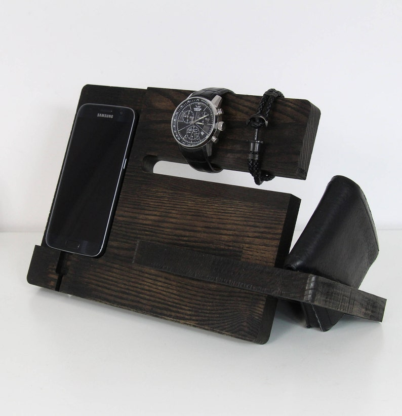 Cell phone charging station Wood charging station Wood image 0