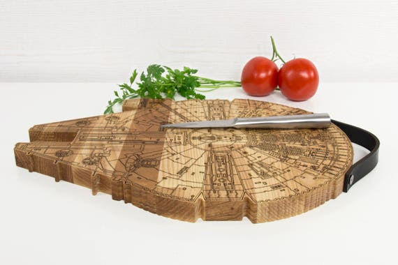 Inspired by Star Wars MILLENNIUM FALCON Engraved Cutting Board