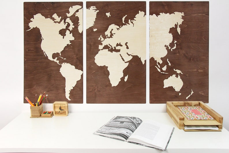 Wood World Map Wooden World Map Rustic Office Decor Wooden Etsy