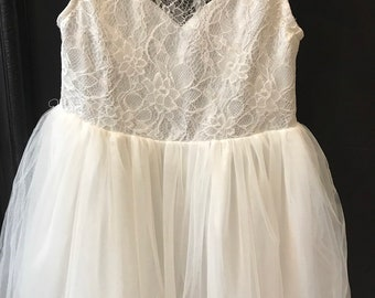 c48c92bbf46 Custom Flower Girl Dress   Ivory Tulle Skirt   Lace bodice   Underskirt  Crin   Rounded Neck and Back   Order Size
