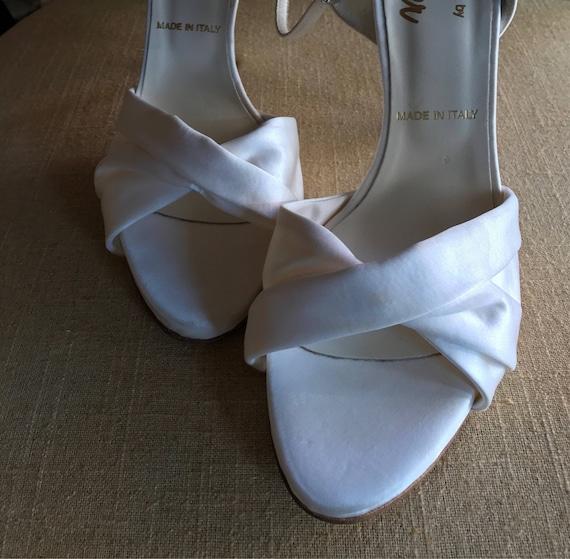 5f7d6e2c69cf 10.5 White Silk Bridal Pumps  Bridal Shoes   Off White   Peep