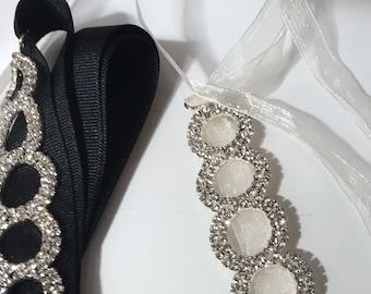 Custom Made Tulle Ribbon Rhinestone Bracelet / Wedding Headband / Silk / Rhinestones / Chanel