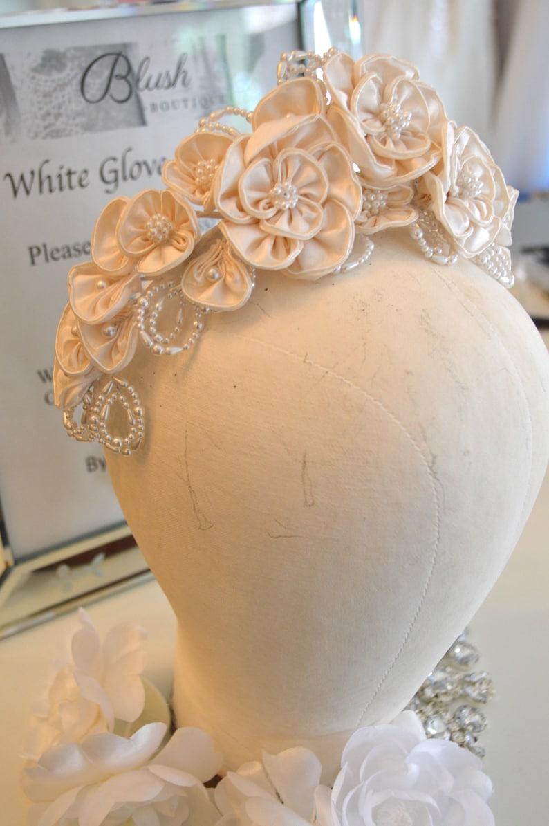 Silk Pearl Flower Crown  Ivory Satin  Round Flower Pearls  Bride Headpiece  Wreath  Tiara  Pearls  Juliet Veil Ready  Stunning Ivory