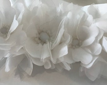 White Flower Girl Sash / White Organza Satin  / White Flowers / White Grosgrain Sash / Flowers Beads / Sparkly Beads /  Flowers