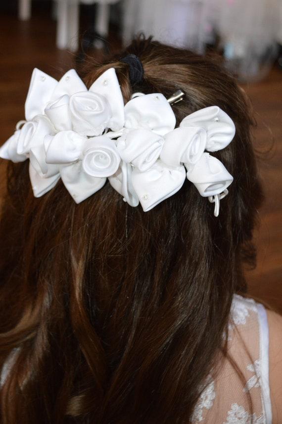 Haarreifen Hochzeit Kommunion Blumenmädchen Kranz crem Neu