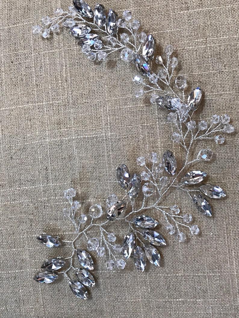 Silver Rhinestone Backpiece  Hair Vine Clear and Rhinestone Backpiece  Silver Hair Vine  Wedding Hair Accessory  Metal Vine