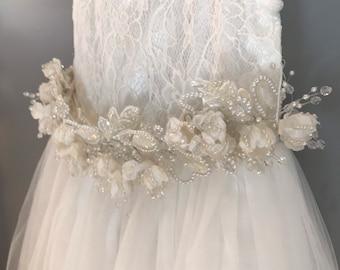 White Satin Flower Rhinestone Pearl sash Applique / Tulle Lace and Flowers / White Satin / Wedding Communion Flower Girl / White Sash