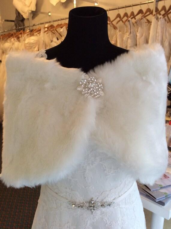 Ivory Faux Fur Wedding Shrug /  Rhinestone Fur Wra