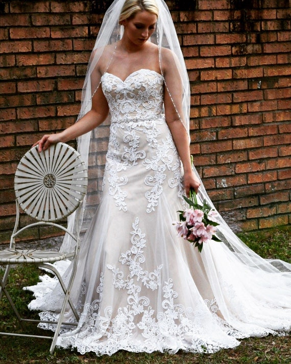 12 Cafe Satin Tulle And Lace Floral Overlay Wedding Dress Etsy