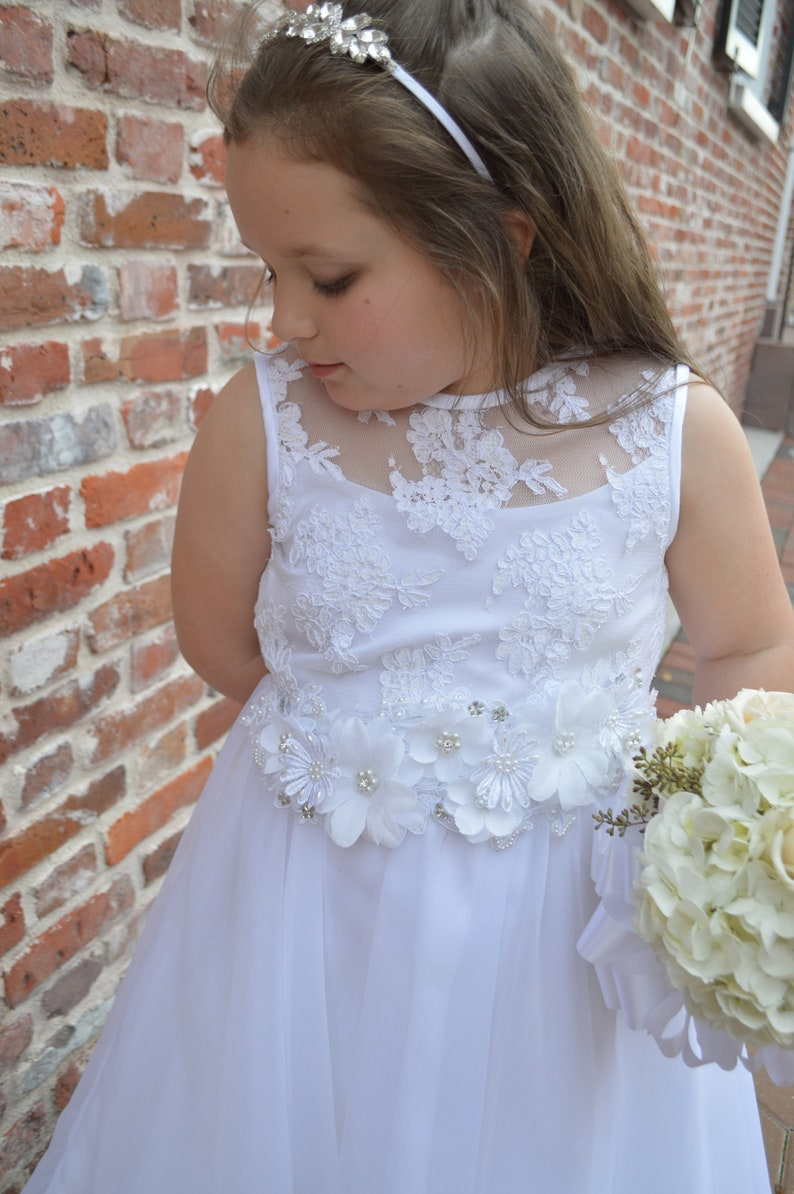 GIRLS WHITE VEIL FIRST COMMUNION FLOWER BEADS RHINESTONE HEADPIECE TULLE NEW
