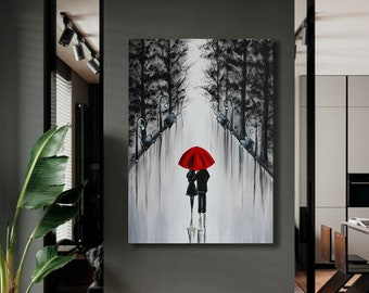 Red umbrella art Love couple painting on canvas Couple art Lovers in the rain Romantic Couple in Love
