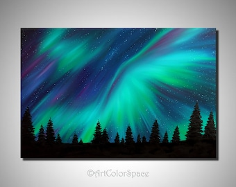 Canada Nature Northern Lights Art Large Oil Painting On Canvas Northern  Lights Painting Aurora Borealis Art Northern Light Canada Painting