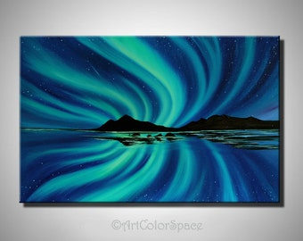 Northern Lights Painting Iceland Art Aurora Borealis Art Galaxy Painting On  Canvas Northern Lights Decor Stars Galaxy Art Aurora Borealis