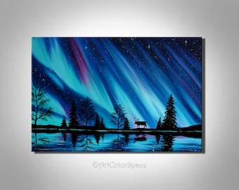 Norway Art Large Northern Lights Painting Aurora Borealis Art Huge Painting  Extra Large Wall Art Northern Lights Canvas Night Sky Painting