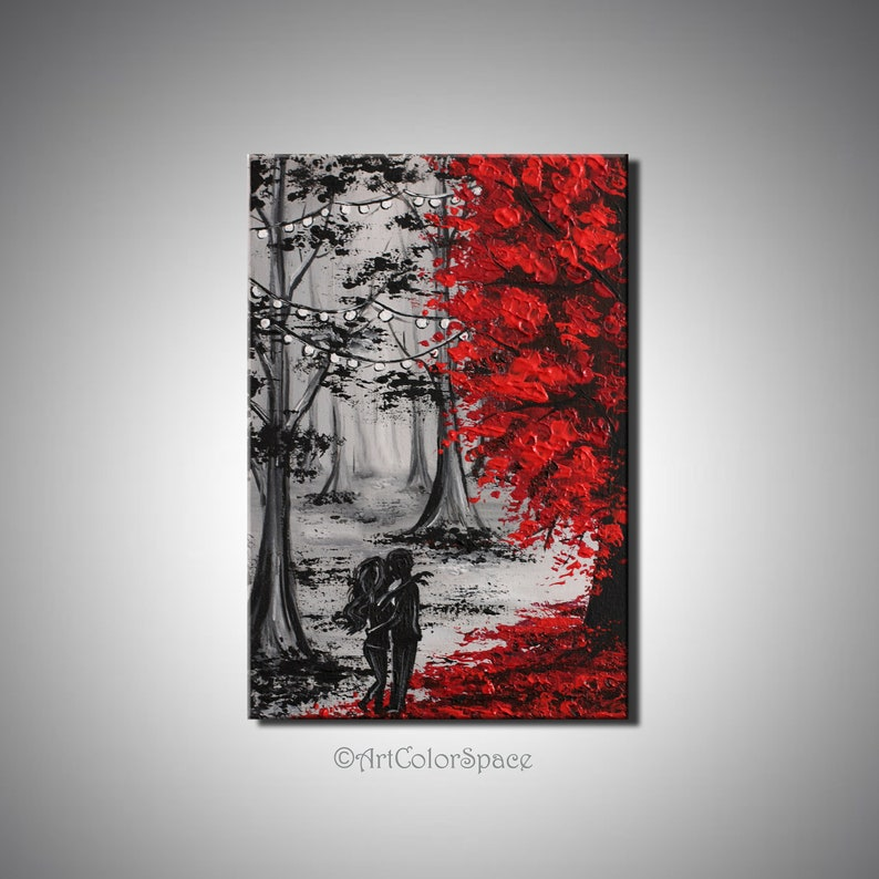 Love Couple Painting Romantic Wall Art Couple In Love Fall Etsy