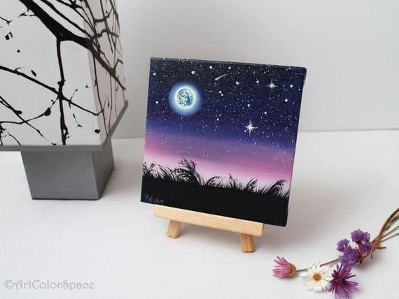Nacht Himmel Malerei Sternenhimmel Vollmond Olgemalde Auf Etsy