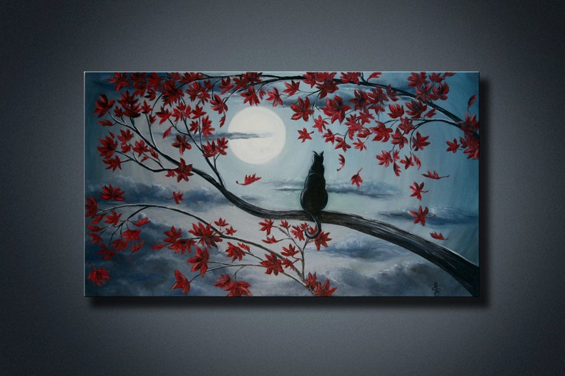 Paysage Art Peinture Acrylique Sur Toile Chat Noir Sur Branche Etsy