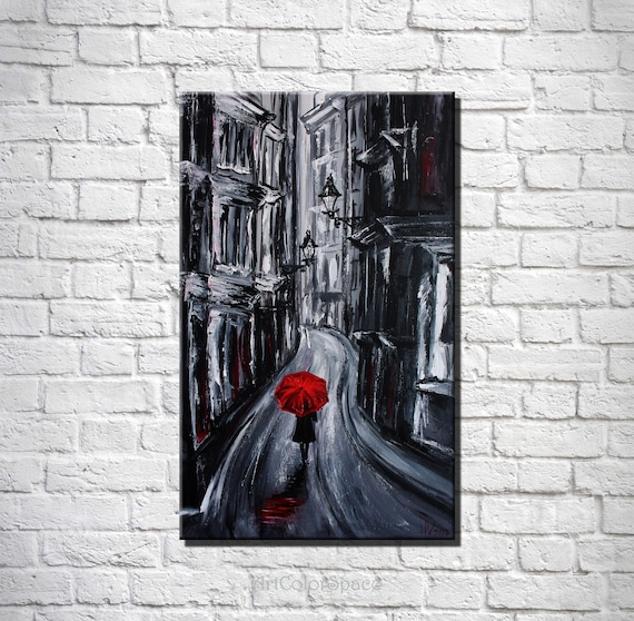 Red Umbrella Painting Rainy Day Painting Black White Red Etsy