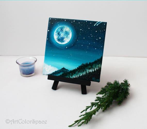 Nachthimmel Malerei Sternenhimmel Vollmond Olgemalde Auf Etsy