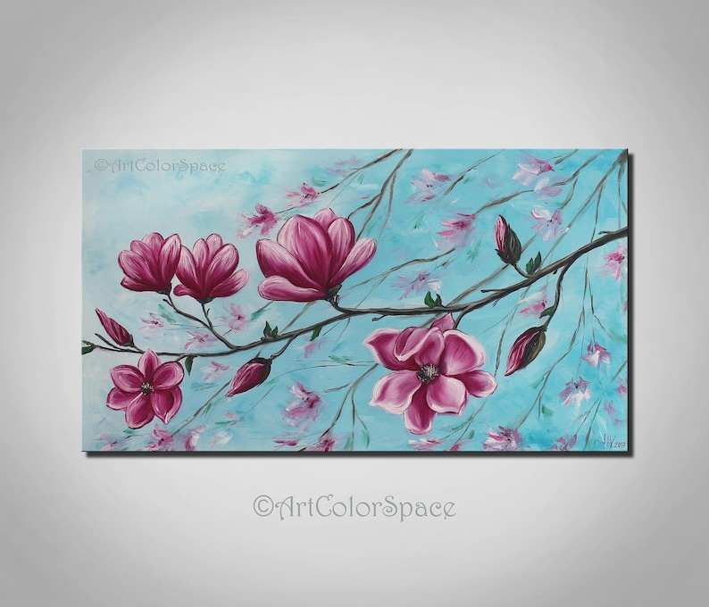 Magnolia Flowers Painting On Canvas Spring Flowers Decor Pink Etsy