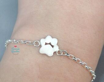 Dog paw print bracelet   Dog lover initial paw engraved Bracelet   personalized Dog paw bracelet   initial dog paw   Dog Lover paw print