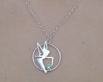Tinkerbell necklace / Tinkerbell silver necklace / Tinkerbell peter pan necklace / fairy tinkerbell pendant / peter pan / silver tinkerbell