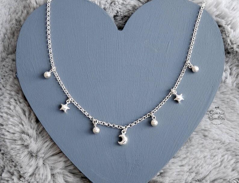 0ffa21468102 Estrellas Luna gargantilla   Estrellas luna collar plata