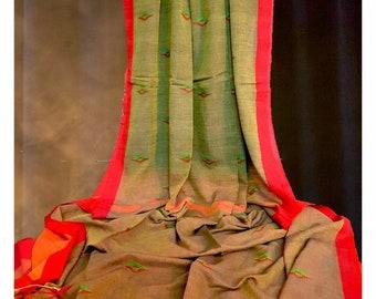 Premium Soft Cotton Saree with Buttis and Silk Border