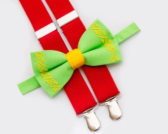 Christmas Matching Outfit Light Green Bow Tie & Red Suspenders Gift For Father And Son