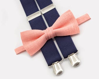 coral bow tie & navy blue suspenders ring bearer outfit groomsmen bow tie suspenders