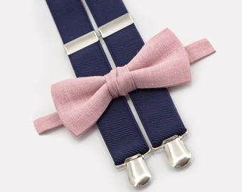 Dusty Rose Bow Tie And Navy Suspenders Ring Bearer Outfit Boys Wedding Bow Tie Suspenders