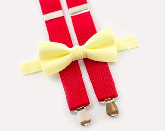 wedding boys outfit light yellow bow tie & red suspenders ring bearer set