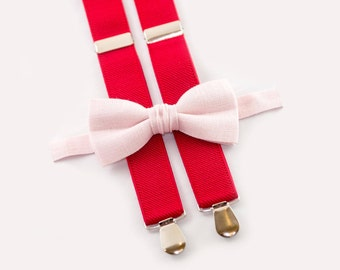 boys suspenders bow tie blush pink bow tie & red suspenders toddler christmas outfit