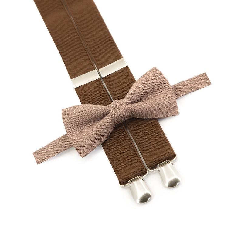 Tan Bow Tie & Brown Suspenders  Toddler Suspenders And Bow Tie image 0