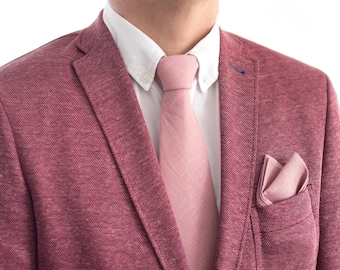 Dusty Rose Neck Tie Skinny Groom Neck Ties And Pocket Square