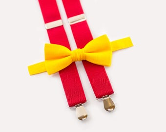 Mustard Bow Tie & Red Suspenders  Toddler Birthday Outfit  Toddler Bow Tie Suspenders