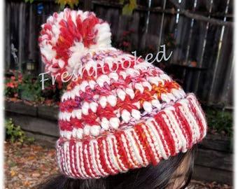 Red & Cream Beanie Hat Folded Brim Slouchy with Pompom Wool