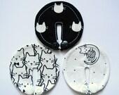 B W cats SET of 3, 6 or 10 feeding tube pads, PEG covers, Gtube pads, buttons G-tube mic-key button, podkładki PEG, bamboo