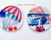 Plane, parachute SET of 3, 6 or 10 feeding tube pads, PEG covers, Gtube pads, buttons G-tube mic-key button, podkładki PEG, bamboo
