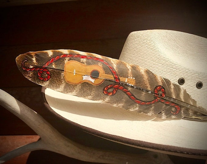 Custom hat feather, western music, guitar hat feather, western swing music, cowboy hat feather, cowgirl hat, bluegrass music, feather art