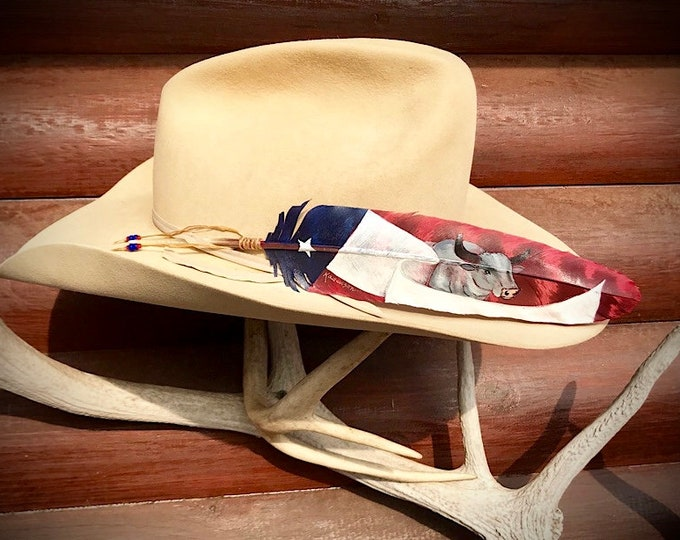 Texas Bullrider hat feathers, western cowboy hat feathers hand painted flag and bucking bull, custom painted for rodeo cowboy fashion art