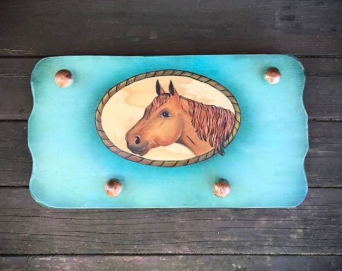 Original western horse decor, turquoise and copper, horse art, coat or hat hanger, towel hook
