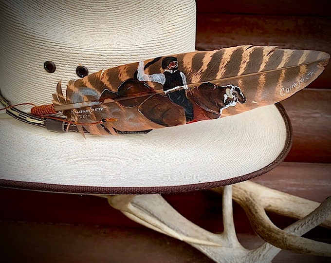 Bull riding portrait, custom cowboy hat feather, hand painted by Kathy Adamson, western retro, hand painted wild turkey wing, hat accessory