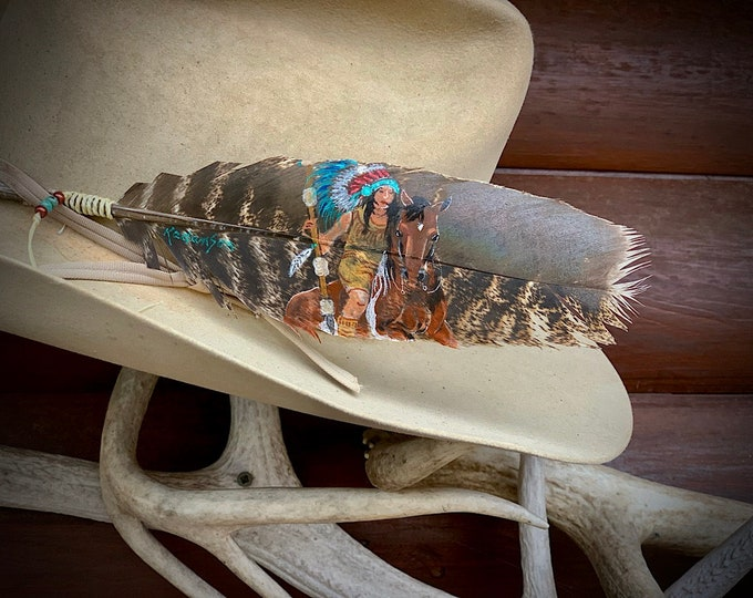 Custom portrait hat feathers, western hat feathers, boho western hats, hippie hat accessories, custom hat feathers hand painted original art
