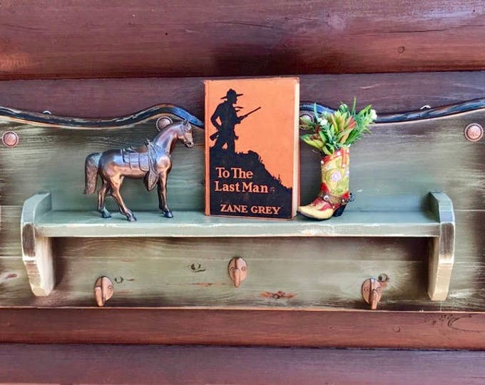 Rustic decor, antiqued patina green shelf, hat rack, collectors display, with rustic copper conchos and hangers, western, southwest decor