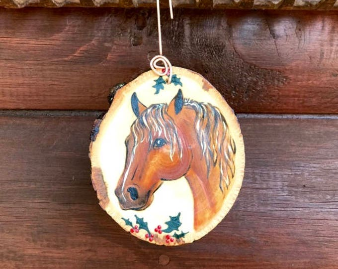 Christmas ornament, custom western christmas tree ornament, hand painted western horse with holly, personalized