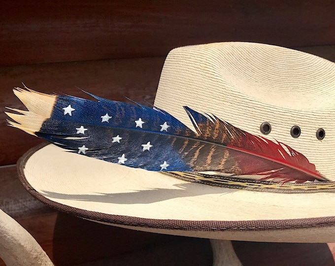 American made custom hat feather, wild turkey feather painted patriotic theme red, white and blue with stars and natural feather, bullriding